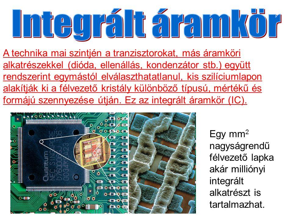 Egy mm 2 nagyságrendű félvezető lapka akár milliónyi integrált alkatrészt is tartalmazhat.