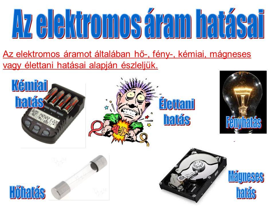 Az elektromos áramot általában hő-, fény-, kémiai, mágneses vagy élettani hatásai alapján észleljük.