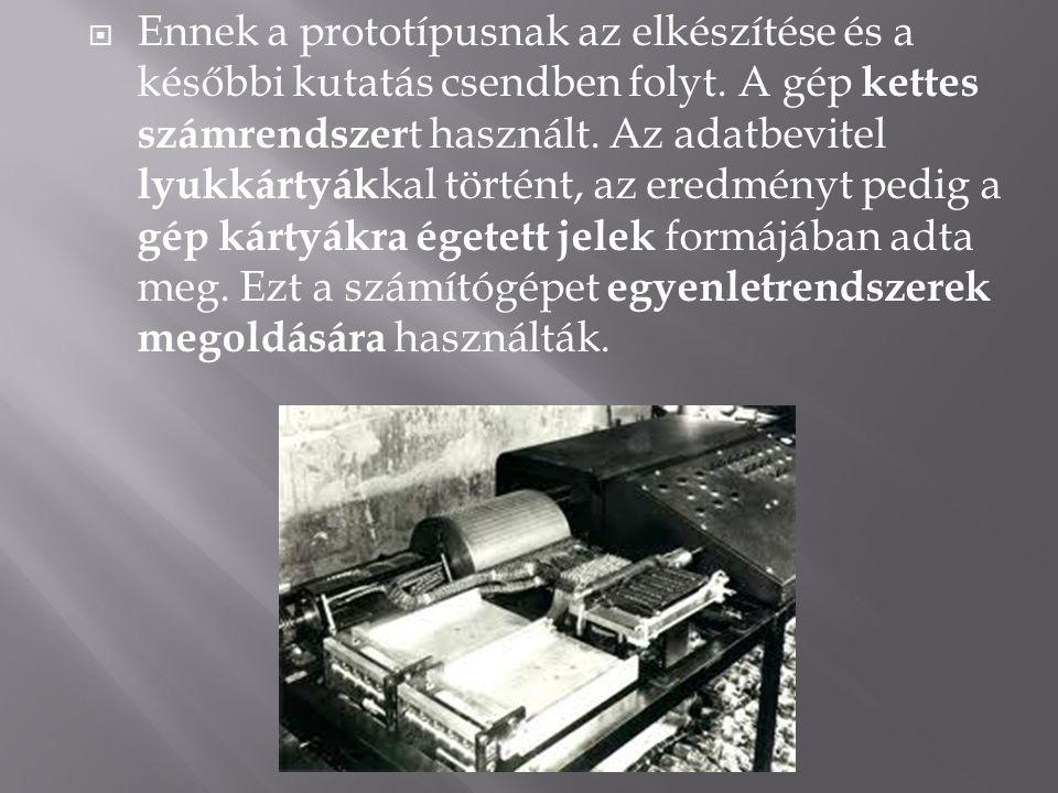  A gép további fejlesztésének 1942-ben a háború vetett véget.