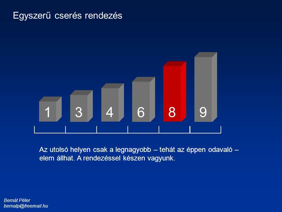 Bernát Péter bernatp@freemail.hu 1 3 4 6 8 9 Egyszerű cserés rendezés Az utolsó helyen csak a legnagyobb – tehát az éppen odavaló – elem állhat. A ren