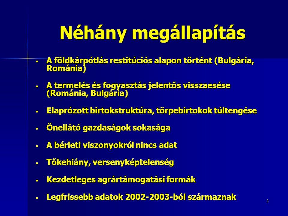 3 Néhány megállapítás A földkárpótlás restitúciós alapon történt (Bulgária, Románia) A földkárpótlás restitúciós alapon történt (Bulgária, Románia) A termelés és fogyasztás jelentős visszaesése (Románia, Bulgária) A termelés és fogyasztás jelentős visszaesése (Románia, Bulgária) Elaprózott birtokstruktúra, törpebirtokok túltengése Elaprózott birtokstruktúra, törpebirtokok túltengése Önellátó gazdaságok sokasága Önellátó gazdaságok sokasága A bérleti viszonyokról nincs adat A bérleti viszonyokról nincs adat Tőkehiány, versenyképtelenség Tőkehiány, versenyképtelenség Kezdetleges agrártámogatási formák Kezdetleges agrártámogatási formák Legfrissebb adatok 2002-2003-ból származnak Legfrissebb adatok 2002-2003-ból származnak