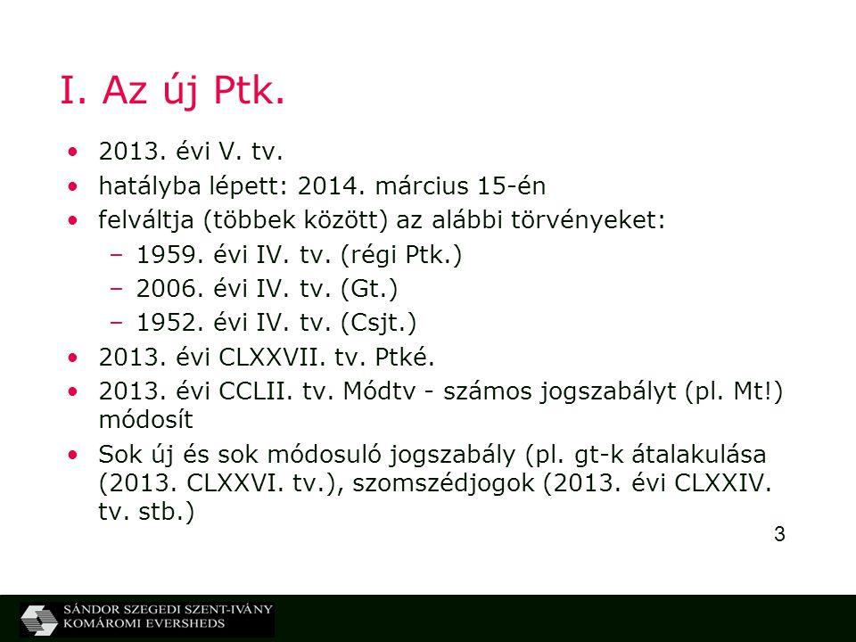 3 I. Az új Ptk. 2013. évi V. tv. hatályba lépett: 2014. március 15-én felváltja (többek között) az alábbi törvényeket: –1959. évi IV. tv. (régi Ptk.)