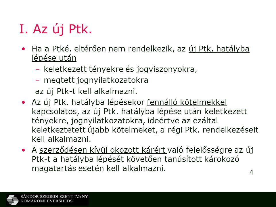 4 I. Az új Ptk. Ha a Ptké. eltérően nem rendelkezik, az új Ptk. hatályba lépése után –keletkezett tényekre és jogviszonyokra, –megtett jognyilatkozato
