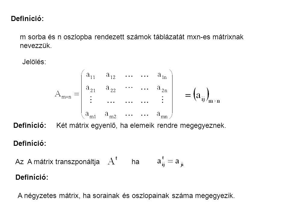 Definíció: m sorba és n oszlopba rendezett számok táblázatát mxn-es mátrixnak nevezzük.