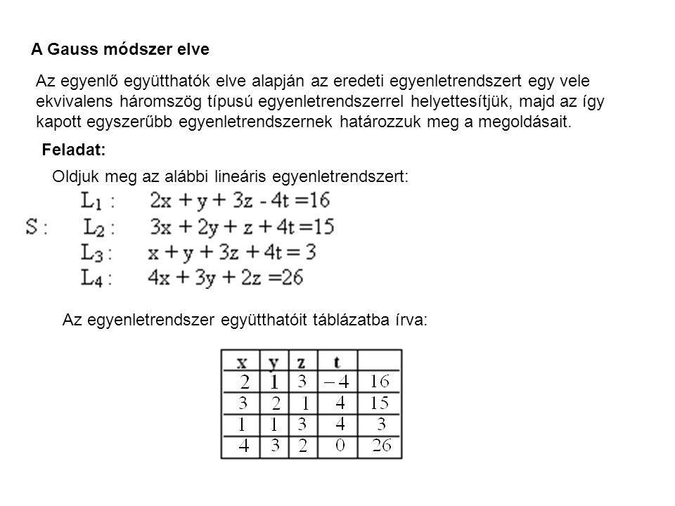 A Gauss módszer elve Az egyenlő együtthatók elve alapján az eredeti egyenletrendszert egy vele ekvivalens háromszög típusú egyenletrendszerrel helyettesítjük, majd az így kapott egyszerűbb egyenletrendszernek határozzuk meg a megoldásait.