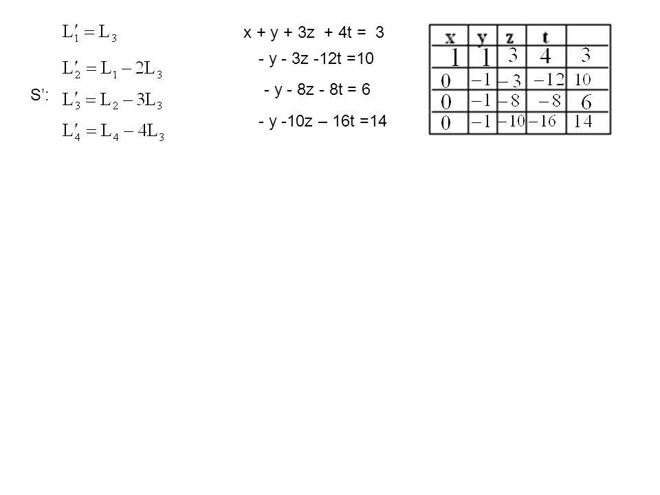 S': x + y + 3z + 4t = 3 - y - 3z -12t =10 - y - 8z - 8t = 6 - y -10z – 16t =14