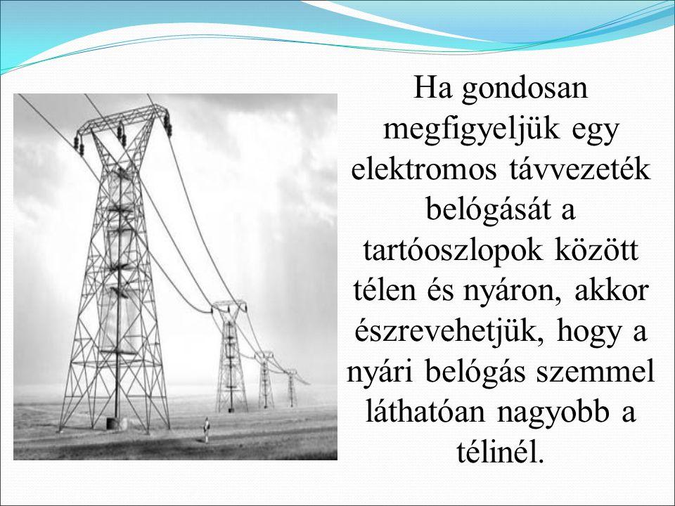 Ha gondosan megfigyeljük egy elektromos távvezeték belógását a tartóoszlopok között télen és nyáron, akkor észrevehetjük, hogy a nyári belógás szemmel