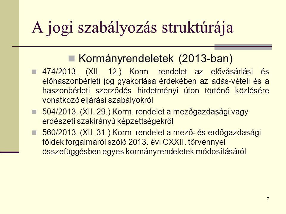 7 A jogi szabályozás struktúrája Kormányrendeletek (2013-ban) 474/2013. (XII. 12.) Korm. rendelet az elővásárlási és előhaszonbérleti jog gyakorlása é