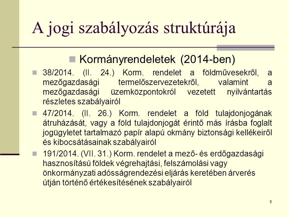 8 Kormányrendeletek (2014-ben) 38/2014. (II. 24.) Korm. rendelet a földművesekről, a mezőgazdasági termelőszervezetekről, valamint a mezőgazdasági üze