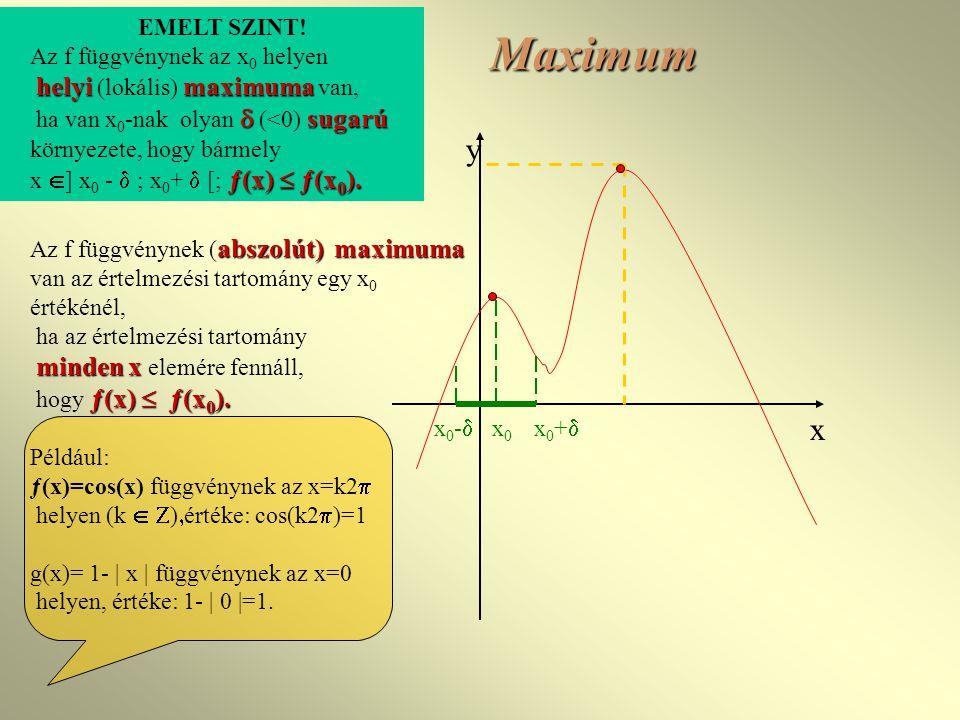Maximum abszolút)maximuma Az f függvénynek ( abszolút) maximuma van az értelmezési tartomány egy x 0 értékénél, ha az értelmezési tartomány minden x minden x elemére fennáll, ƒ(x)  ƒ(x 0 ).