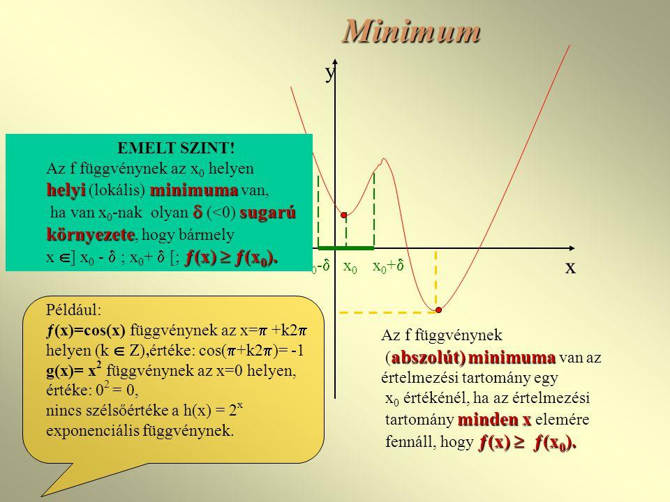 Minimum Az f függvénynek abszolút)minimuma ( abszolút) minimuma van az értelmezési tartomány egy x 0 értékénél, ha az értelmezési minden x tartomány minden x elemére ƒ(x)  ƒ(x 0 ).