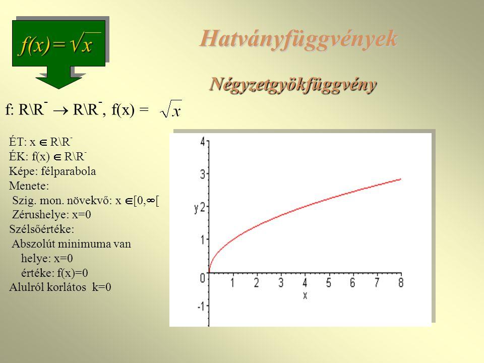 Négyzetgyökfüggvény f(x)=  x f: R\R -  R\R -, f(x) = ÉT: x  R\R - ÉK: f(x)  R\R - Képe: félparabola Menete: Szig.
