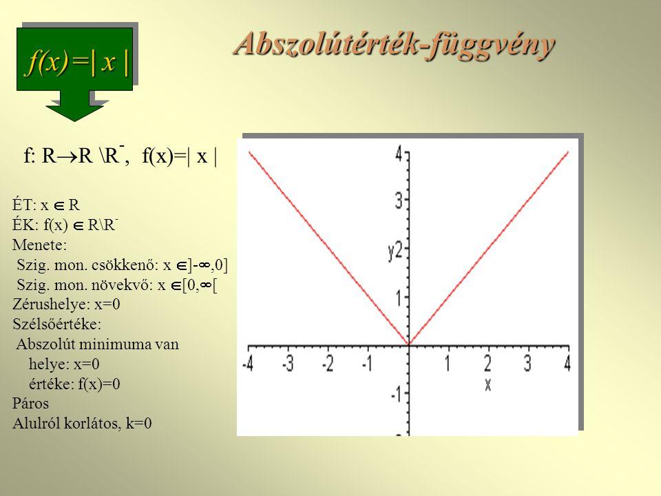 Abszolútérték-függvény f(x)=  x  f: R  R \R -, f(x)=  x  ÉT: x  R ÉK: f(x)  R\R - Menete: Szig.