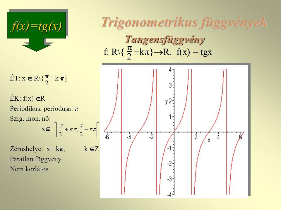 Tangensfüggvény f(x)=tg(x) f: R\{ +k  }  R, f(x) = tgx  2 Trigonometrikus függvények ÉT: x  R\{ + k  } ÉK: f(x)  R Periodikus, periodusa:  Szig.