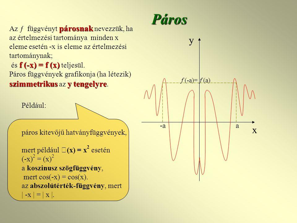 Páros párosnak f (-x) = f (x) Az ƒ függvényt párosnak nevezzük, ha az értelmezési tartománya minden x eleme esetén -x is eleme az értelmezési tartománynak; és f (-x) = f (x) teljesül.