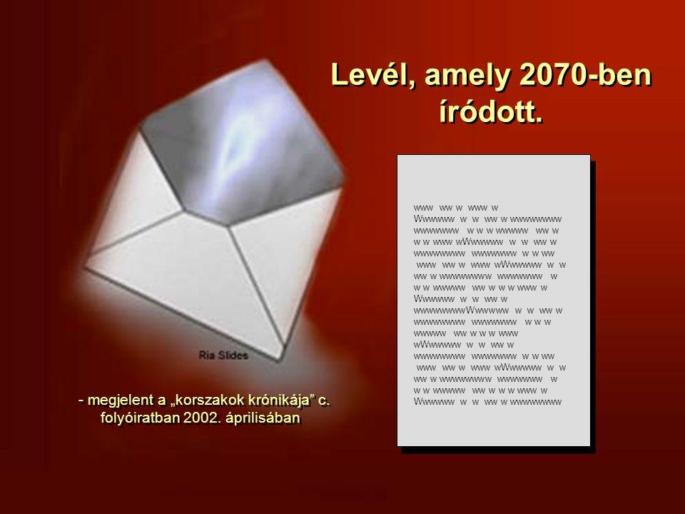 Levél, amely 2070-ben íródott.