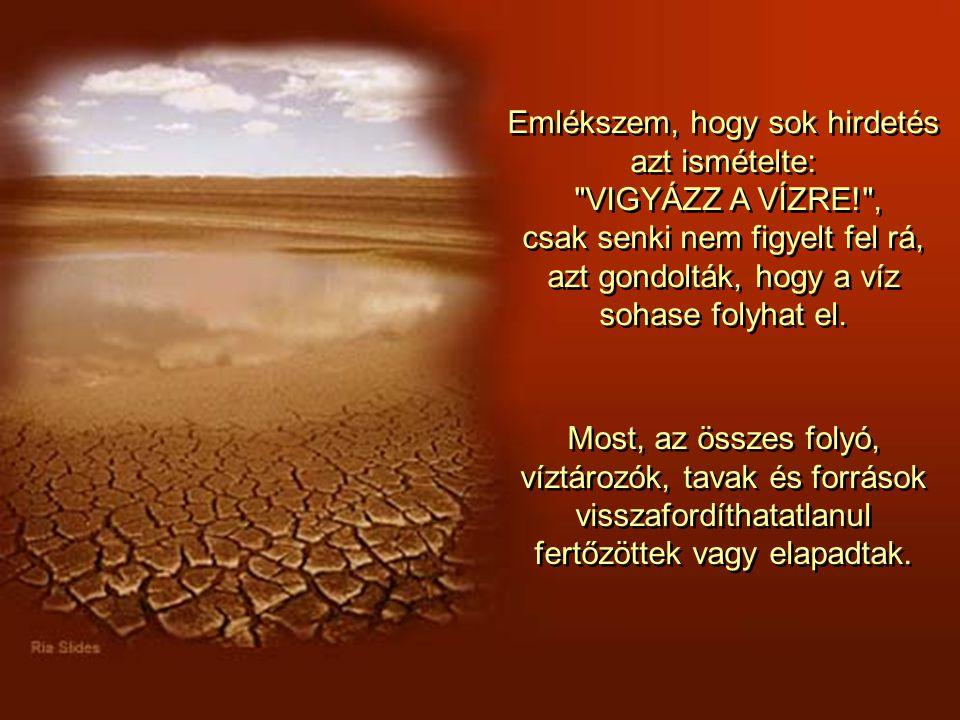 Emlékszem, hogy sok hirdetés azt ismételte: VIGYÁZZ A VÍZRE! , csak senki nem figyelt fel rá, azt gondolták, hogy a víz sohase folyhat el.