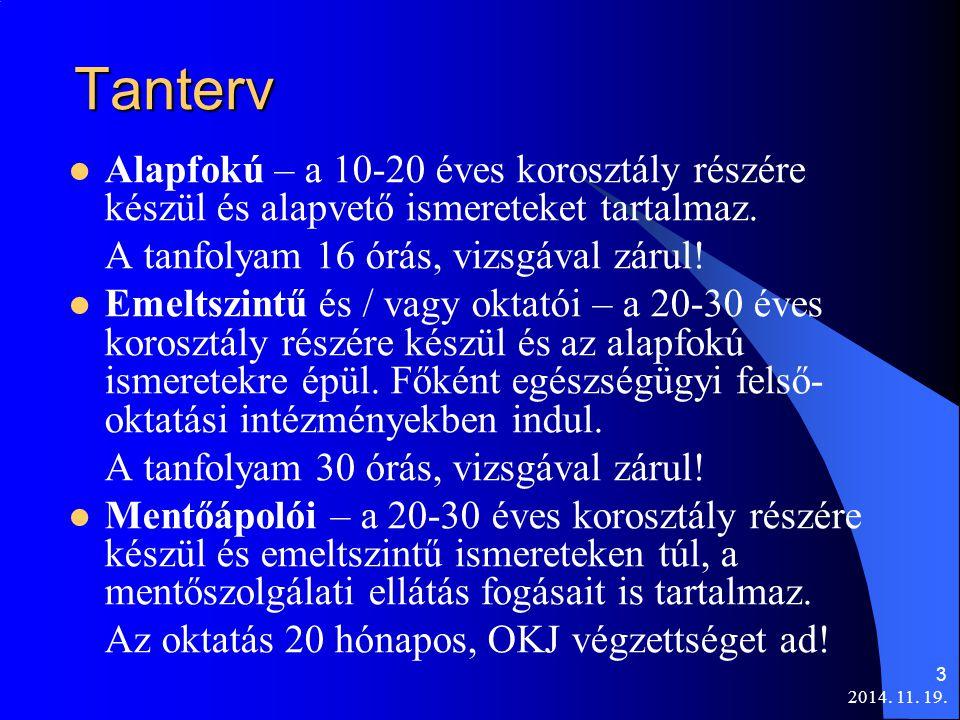 2014. 11. 19. 3 Tanterv Alapfokú – a 10-20 éves korosztály részére készül és alapvető ismereteket tartalmaz. A tanfolyam 16 órás, vizsgával zárul! Eme