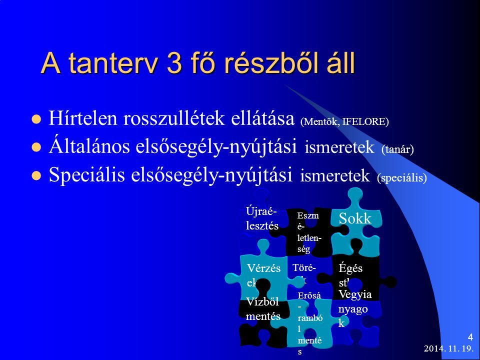 2014. 11. 19. 4 A tanterv 3 fő részből áll Hírtelen rosszullétek ellátása (Mentők, IFELORE) Általános elsősegély-nyújtási ismeretek (tanár) Speciális