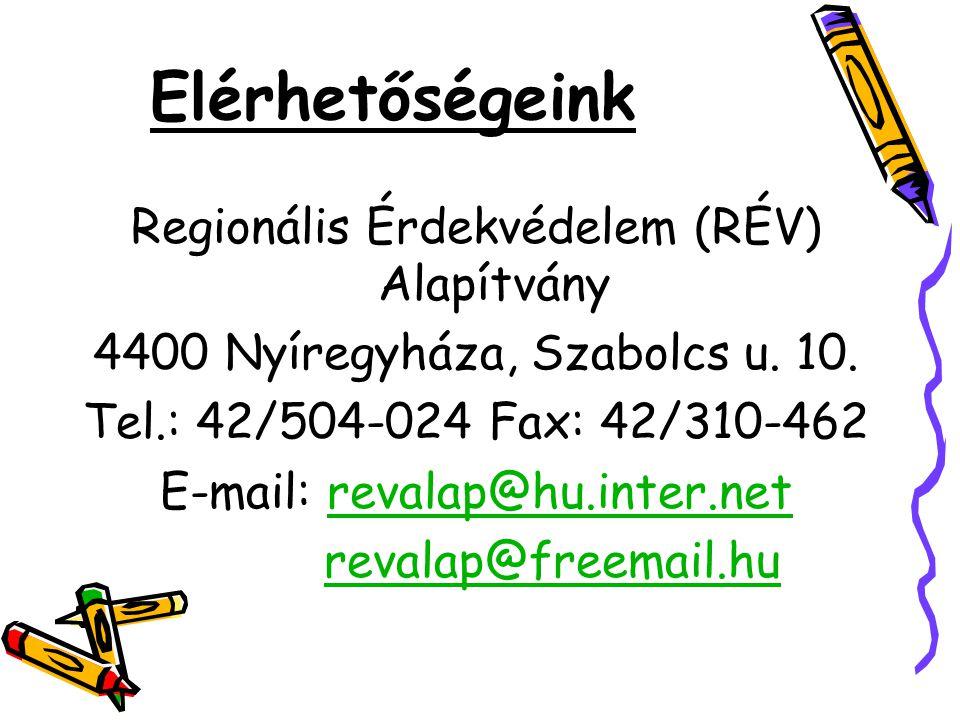 Elérhetőségeink Regionális Érdekvédelem (RÉV) Alapítvány 4400 Nyíregyháza, Szabolcs u. 10. Tel.: 42/504-024 Fax: 42/310-462 E-mail: revalap@hu.inter.n