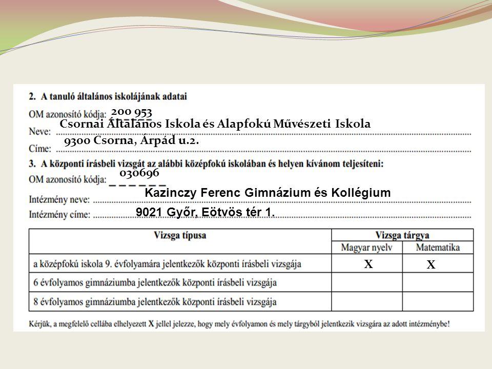 200 953 Csornai Általános Iskola és Alapfokú Művészeti Iskola 9300 Csorna, Árpád u.2. 030696 Kazinczy Ferenc Gimnázium és Kollégium 9021 Győr, Eötvös