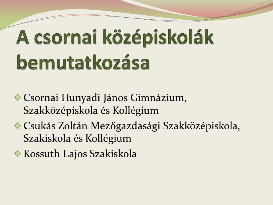  Csornai Hunyadi János Gimnázium, Szakközépiskola és Kollégium  Csukás Zoltán Mezőgazdasági Szakközépiskola, Szakiskola és Kollégium  Kossuth Lajos
