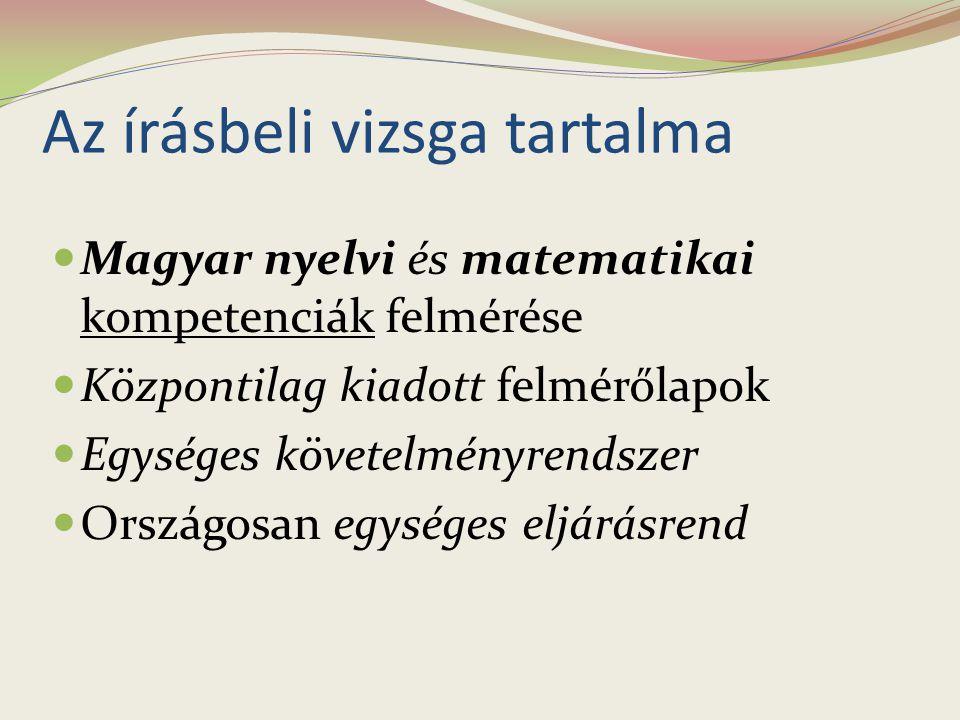 Az írásbeli vizsga tartalma Magyar nyelvi és matematikai kompetenciák felmérése Központilag kiadott felmérőlapok Egységes követelményrendszer Országos