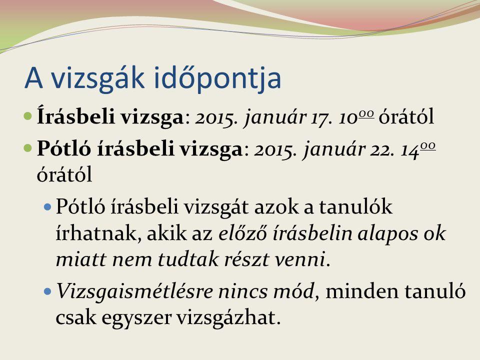 Vizsgát szervező középiskolák listája 2014.
