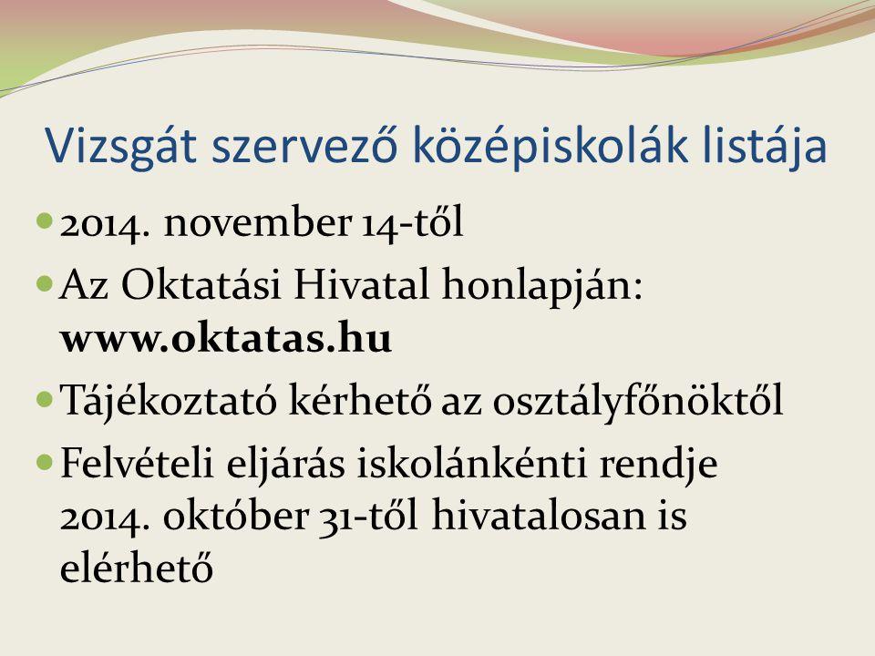 Vizsgát szervező középiskolák listája 2014. november 14-től Az Oktatási Hivatal honlapján: www.oktatas.hu Tájékoztató kérhető az osztályfőnöktől Felvé