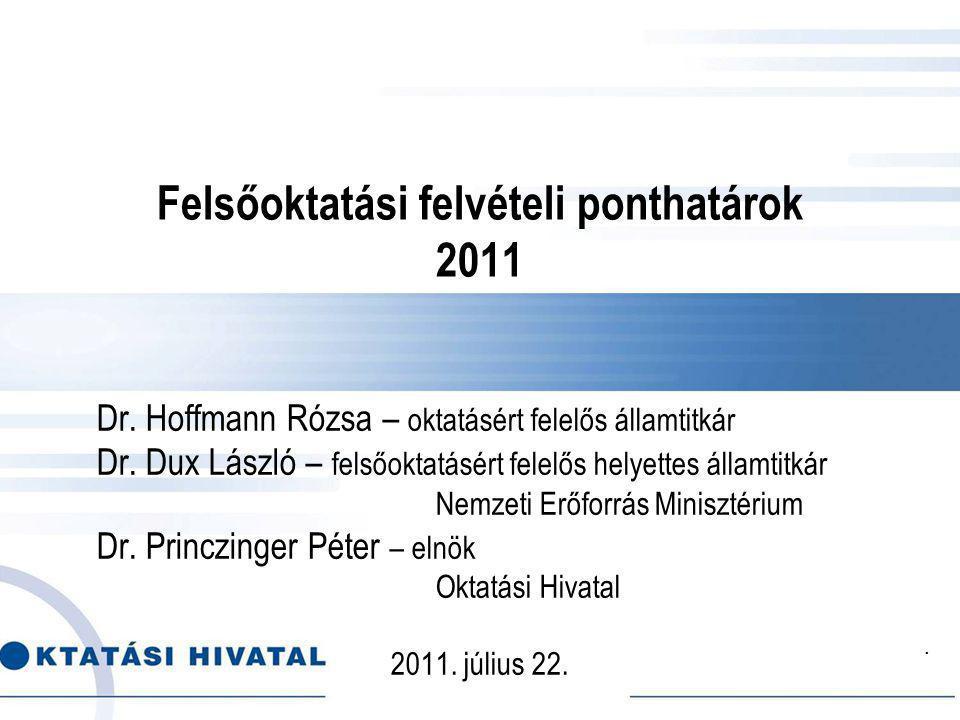 Felsőoktatási felvételi ponthatárok 2011 Dr. Hoffmann Rózsa – oktatásért felelős államtitkár Dr.