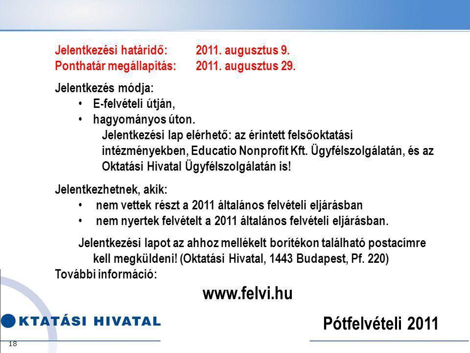 Jelentkezési határidő:2011.augusztus 9. Ponthatár megállapítás: 2011.
