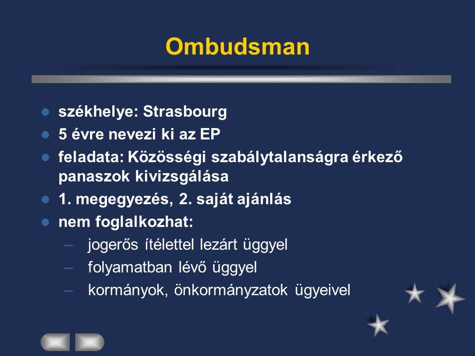 Ombudsman székhelye: Strasbourg 5 évre nevezi ki az EP feladata: Közösségi szabálytalanságra érkező panaszok kivizsgálása 1. megegyezés, 2. saját aján