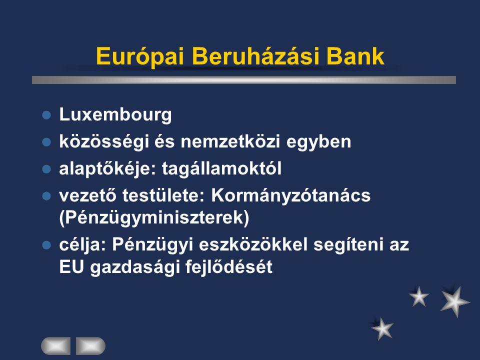 Európai Beruházási Bank Luxembourg közösségi és nemzetközi egyben alaptőkéje: tagállamoktól vezető testülete: Kormányzótanács (Pénzügyminiszterek) cél