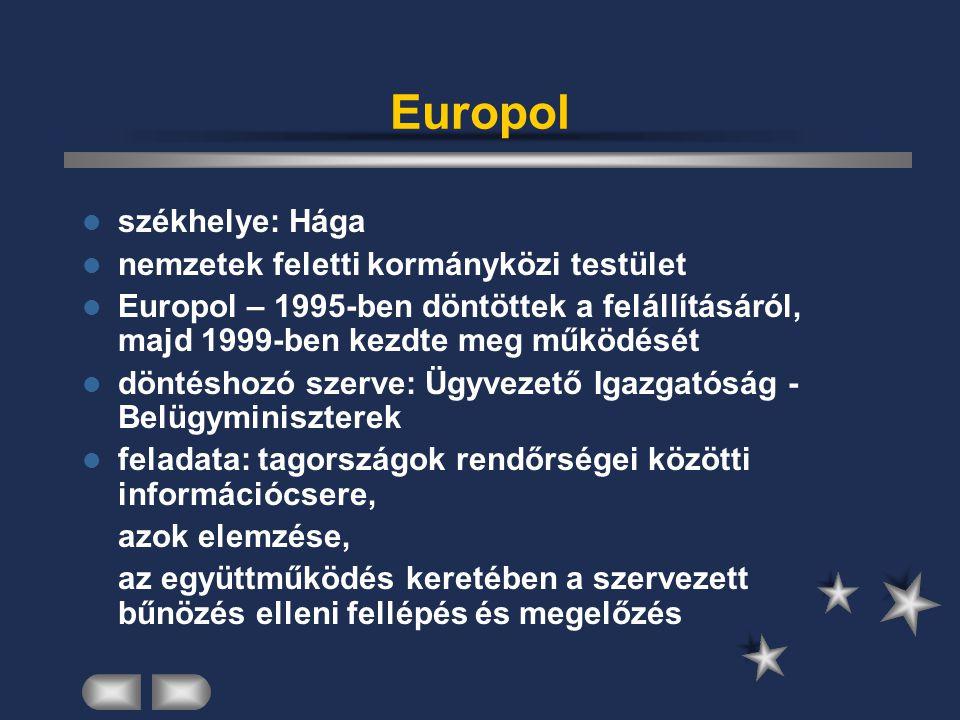 Europol székhelye: Hága nemzetek feletti kormányközi testület Europol – 1995-ben döntöttek a felállításáról, majd 1999-ben kezdte meg működését döntés