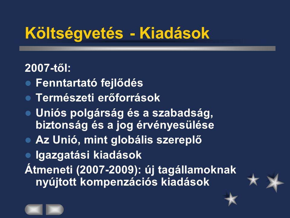 Költségvetés - Kiadások 2007-től: Fenntartató fejlődés Természeti erőforrások Uniós polgárság és a szabadság, biztonság és a jog érvényesülése Az Unió