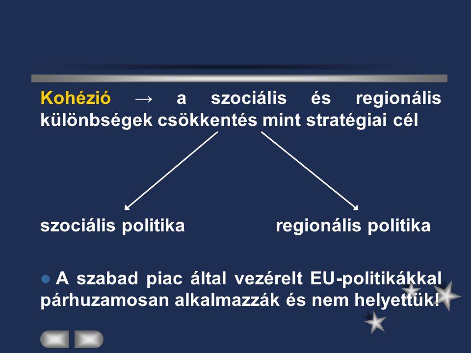 Kohézió → a szociális és regionális különbségek csökkentés mint stratégiai cél szociális politikaregionális politika A szabad piac által vezérelt EU-p