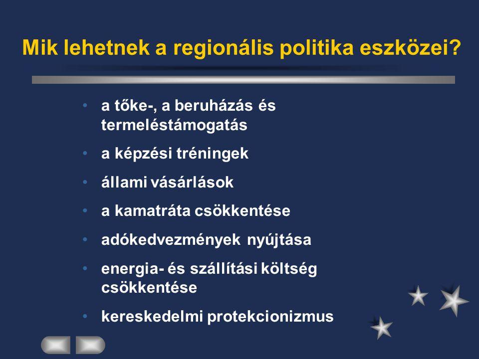 Mik lehetnek a regionális politika eszközei? a tőke-, a beruházás és termeléstámogatás a képzési tréningek állami vásárlások a kamatráta csökkentése a