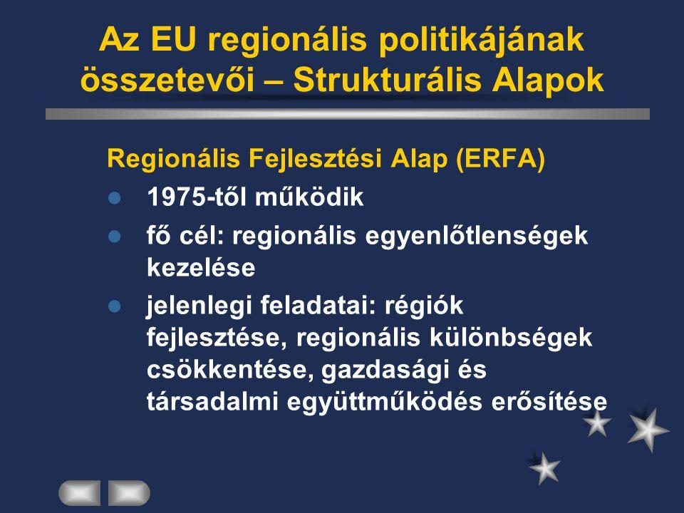 Az EU regionális politikájának összetevői – Strukturális Alapok Regionális Fejlesztési Alap (ERFA) 1975-től működik fő cél: regionális egyenlőtlensége