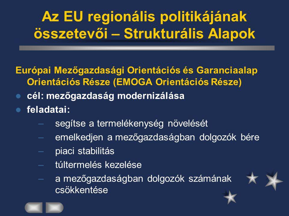 Az EU regionális politikájának összetevői – Strukturális Alapok Európai Mezőgazdasági Orientációs és Garanciaalap Orientációs Része (EMOGA Orientációs
