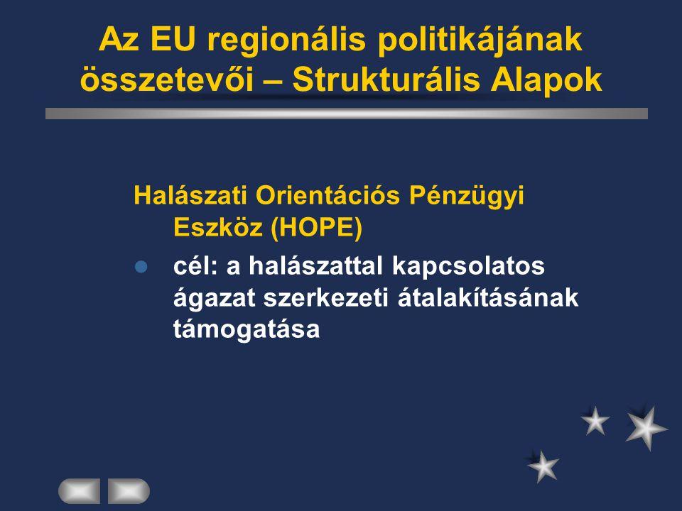 Az EU regionális politikájának összetevői – Strukturális Alapok Halászati Orientációs Pénzügyi Eszköz (HOPE) cél: a halászattal kapcsolatos ágazat sze