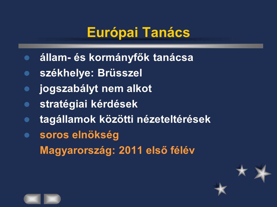Európai Parlament 785 képviselő – Mo.: 24 (2009 után 736 – Mo.: 22) Strasbourg – Brüsszel – Luxembourg 5 évre, népszavazással évente 12 plenáris ülés 22 állandó bizottság törvényhozás, ellenőrzés, költségvetési döntés hatáskörei:egyszerű konzultáció, együttműködés, együttes döntés, jóváhagyás