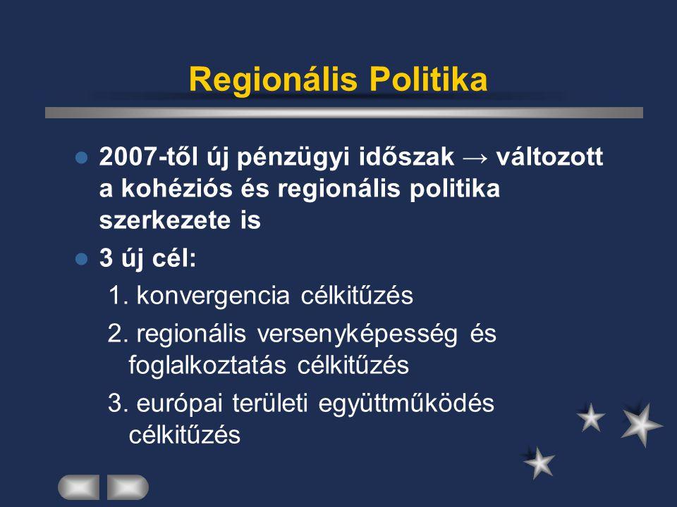Regionális Politika 2007-től új pénzügyi időszak → változott a kohéziós és regionális politika szerkezete is 3 új cél: 1. konvergencia célkitűzés 2. r