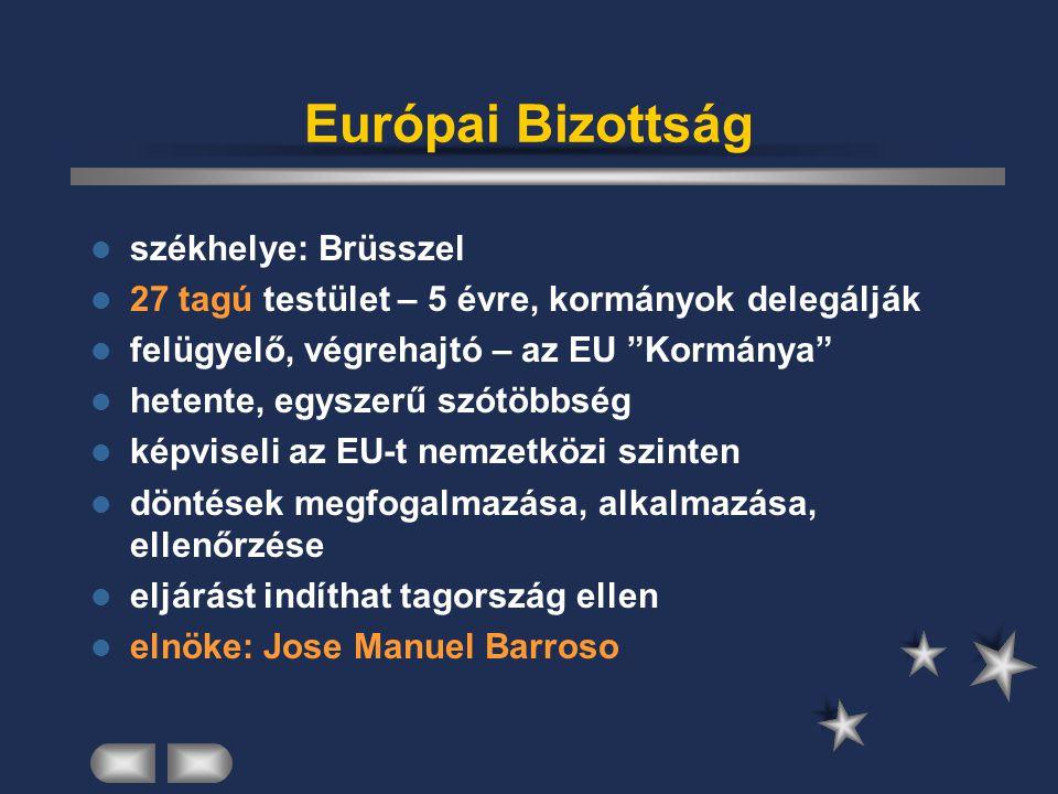 Európai Konvent székhelye: Strasbourg feladata: az EU Alkotmányának ki/átdolgozása 105 tagú tanácskozó testület összetétele: tagállami+ tagjelölt kormányok 1-1 fő, tagállam+tagjelölt nemzeti parlamentek 2-2 fő, Európai Parlament 16 képviselő Bizottság 2 tag élén 13 tagú elnökség (1 elnök, 2 alelnök) 2004 Alkotmány elfogadása (Franciao., Hollandia elutasítja→átdolgozás alatt van)