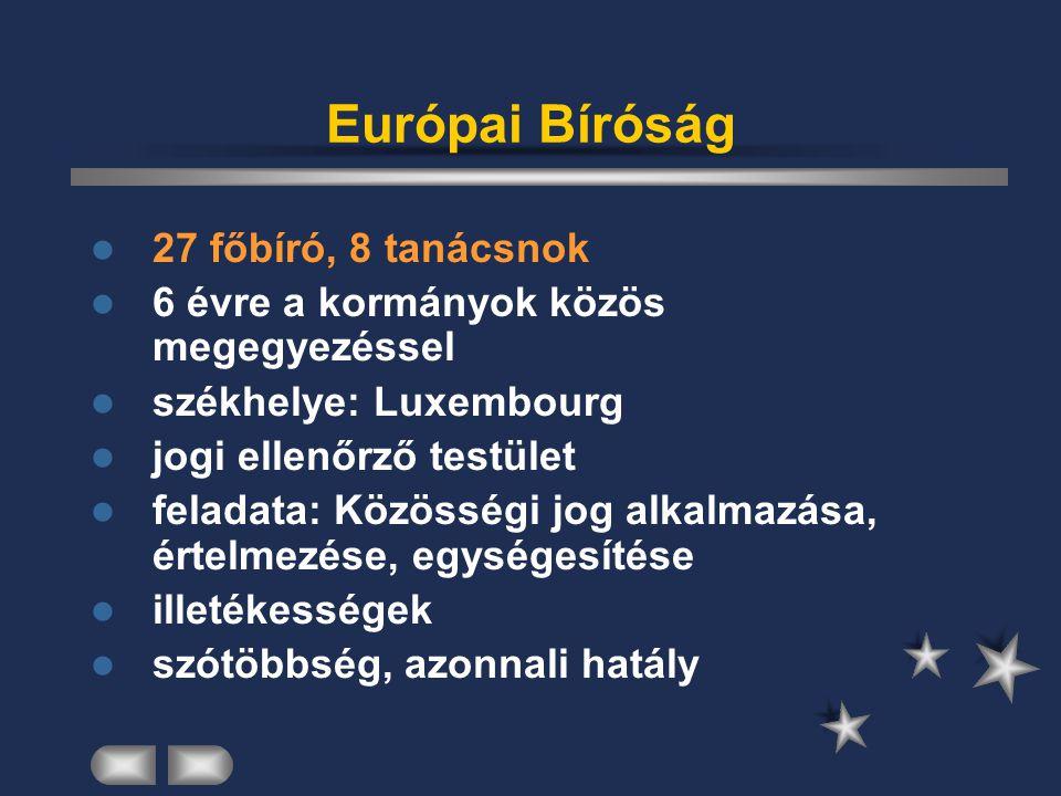 Európai Bíróság 27 főbíró, 8 tanácsnok 6 évre a kormányok közös megegyezéssel székhelye: Luxembourg jogi ellenőrző testület feladata: Közösségi jog al