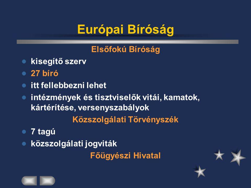 Európai Bíróság Elsőfokú Bíróság kisegítő szerv 27 bíró itt fellebbezni lehet intézmények és tisztviselők vitái, kamatok, kártérítése, versenyszabályo