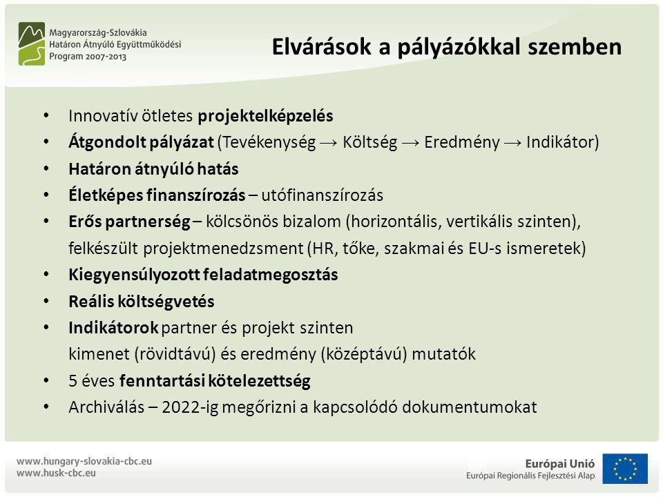 Innovatív ötletes projektelképzelés Átgondolt pályázat (Tevékenység → Költség → Eredmény → Indikátor) Határon átnyúló hatás Életképes finanszírozás – utófinanszírozás Erős partnerség – kölcsönös bizalom (horizontális, vertikális szinten), felkészült projektmenedzsment (HR, tőke, szakmai és EU-s ismeretek) Kiegyensúlyozott feladatmegosztás Reális költségvetés Indikátorok partner és projekt szinten kimenet (rövidtávú) és eredmény (középtávú) mutatók 5 éves fenntartási kötelezettség Archiválás – 2022-ig megőrizni a kapcsolódó dokumentumokat Elvárások a pályázókkal szemben