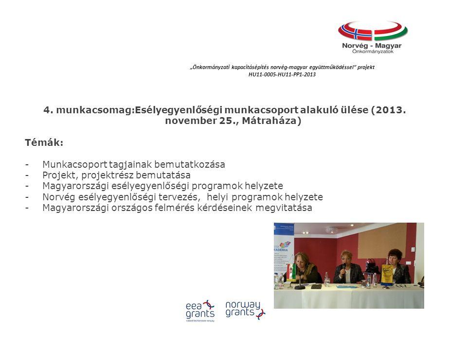4. munkacsomag:Esélyegyenlőségi munkacsoport alakuló ülése (2013.