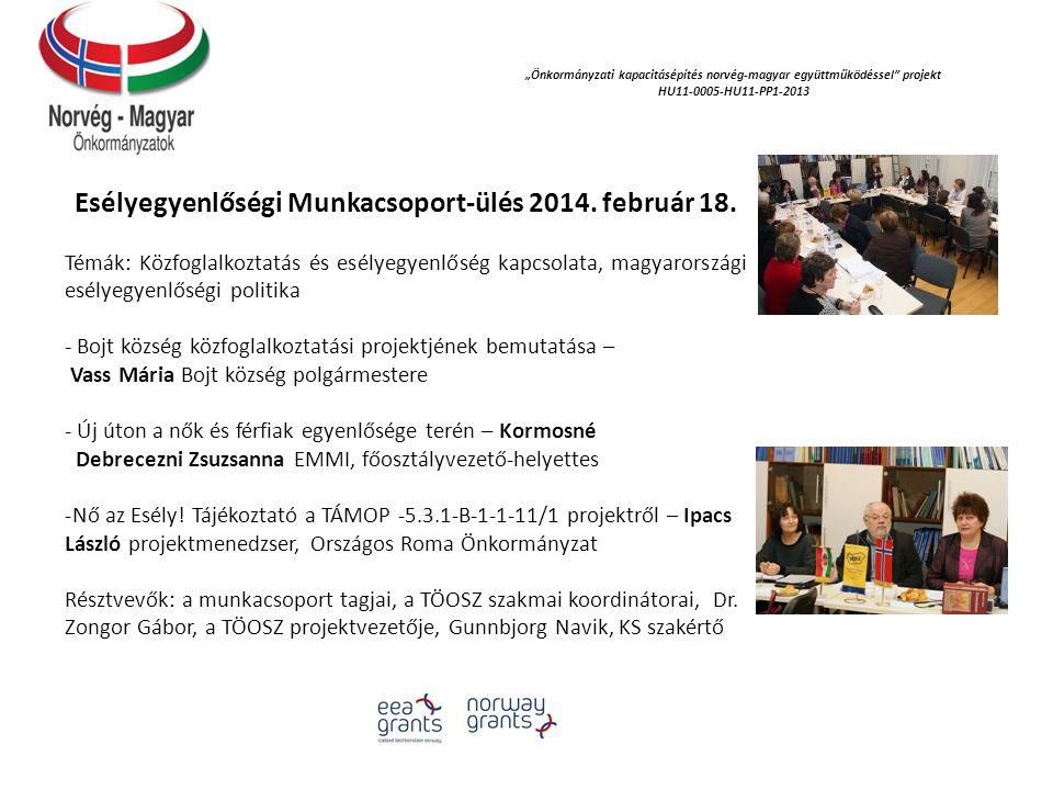 """""""Önkormányzati kapacitásépítés norvég‐magyar együttműködéssel projekt HU11-0005-HU11-PP1-2013 Esélyegyenlőségi Munkacsoport-ülés 2014."""