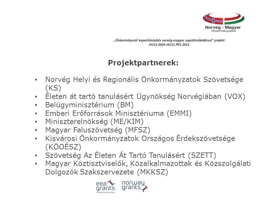 """Projektpartnerek: Norvég Helyi és Regionális Önkormányzatok Szövetsége (KS) Életen át tartó tanulásért Ügynökség Norvégiában (VOX) Belügyminisztérium (BM) Emberi Erőforrások Minisztériuma (EMMI) Miniszterelnökség (ME/KIM) Magyar Faluszövetség (MFSZ) Kisvárosi Önkormányzatok Országos Érdekszövetsége (KÖOÉSZ) Szövetség Az Életen Át Tartó Tanulásért (SZETT) Magyar Köztisztviselők, Közalkalmazottak és Közszolgálati Dolgozók Szakszervezete (MKKSZ) """"Önkormányzati kapacitásépítés norvég‐magyar együttműködéssel projekt HU11-0005-HU11-PP1-2013"""