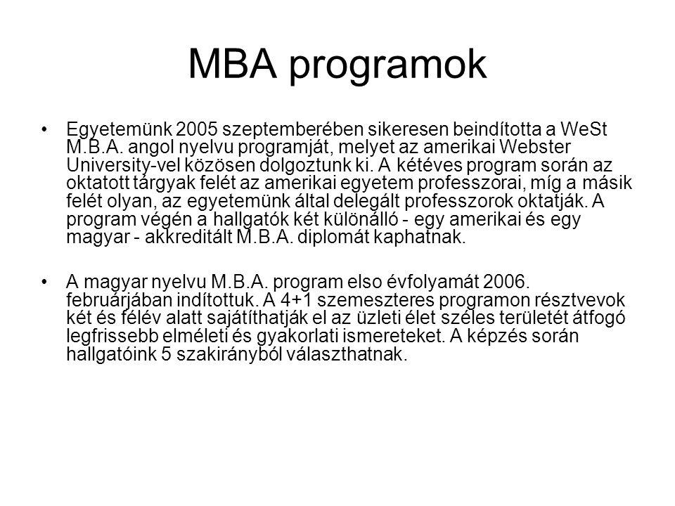 MBA programok Egyetemünk 2005 szeptemberében sikeresen beindította a WeSt M.B.A.